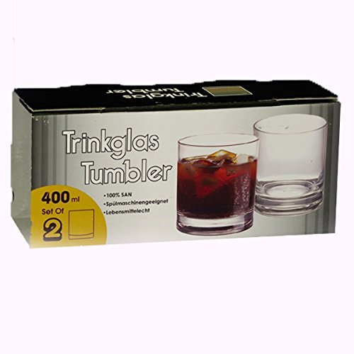 Siehe Beschreibung Polycarbonat Trinkglas klar 400 ml, 2 Stück Camping Zubehör Gläser Trink Glas Kunststoff Wasserglas Trinkbecher Becher Bruchfest Whiskyglas Whiskey
