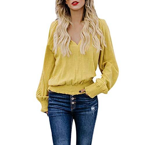 SANFASHION Tee Tops Coton Lin Femme, T-Shirt Manche Longue Plier Chic Col V Chemise Sexy Vetement Mode(Jaune,M)