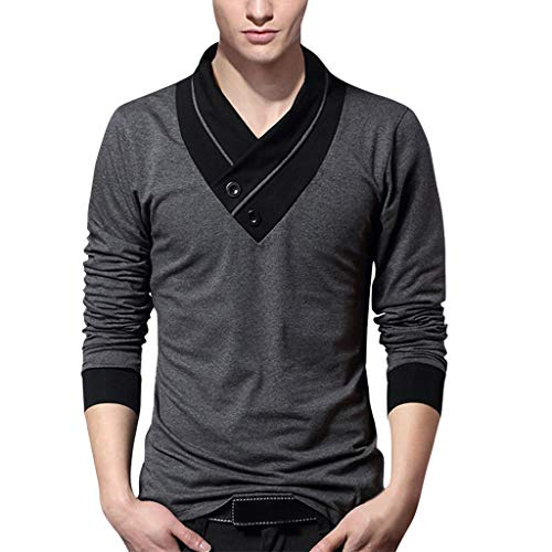 Xmiral Herren Bluse Top Stehkragen Langarm-Baumwoll-T-Shirt Knopf Patchwork dünne Pullover(XXL,Grau)