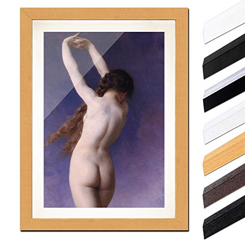 Bild mit Rahmen - William-Adolphe Bouguereau Die verlorene Plejade 30x40cm ca. A3 - Gerahmter Kunstdruck inkl. Galerie Passepartout Alte Meister - Rahmen buche -