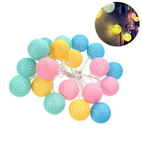 Kostüm Themen Ball - FENICAL LED Lichterkette Candy Bunte Baumwolle Nähgarn Ball Lichterkette Dekor für Festival Weihnachtsfeier (Candy Farbe, 4m, 20 Lampe Produkt ohne Batterie)