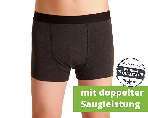 Herren Inkontinenz-Shorts, waschbare Inkontinenz-Unterhose Männer, dunkelgrau/melange, mit doppelter Saugeinlage, für Tagesinkontinenz geeignet, ActivePro Men Super, Gr. L - Für Inkontinenz-unterwäsche Männer
