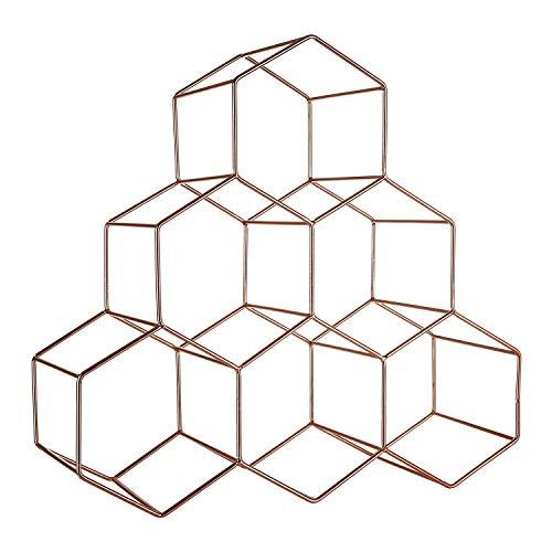 Weinregal frei stehend - 6 Flaschen Lagerung - geometrisches sechseckiges kupfernes Weinregalhaus Dekoration Weinregal kreatives Weinregal