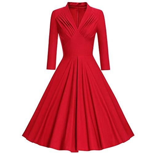 (Damen Kleider,Dasongff Elegant Langarm Partykleid BlusenkleiderCocktailkleid Vintage 1950erRundhalsV-Ausschnitt Swing Kleid Dots Pinup Midikleid)