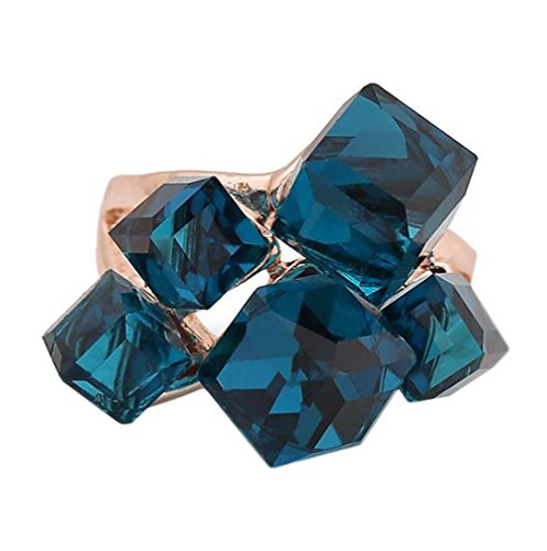jingyuu Magic Cube Ring Charm Frauen Ring Kristall Elegant Ringe für Frauen Mädchen US 9, 18.9MM Blue(us 9)