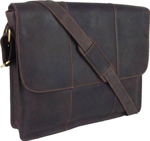 UNICORN Echtledertasche für 43,2 cm (17 Zoll) Laptop / Messenger, Braun #9K