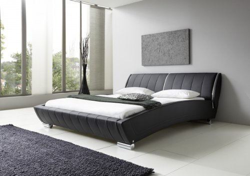 Dreams4Home Polsterbett mit Kunstlederbezug 'Loma' 160 od. 180×200 cm, Schwarz, Liegefläche:160×200 cm