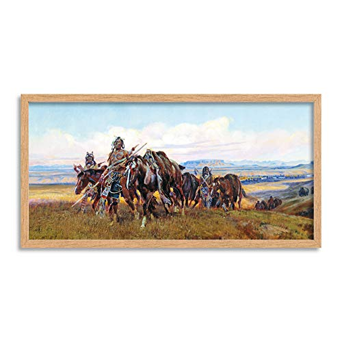 Russell In Enemy's Country Wild West Painting Long Framed Art Print Wall Poster 25x12 inch Westen Malerei Wand Old West Classic Weste