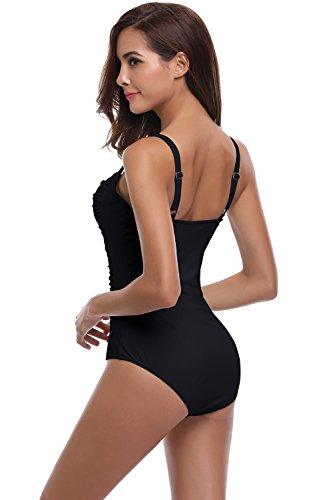 SHEKINI Damen Einteilige Gepolstert Badeanzug Einstellbar Badeanzüge Falten Bademode Schwimmanzug Monokini Blumen und Einfarbig Schwarz
