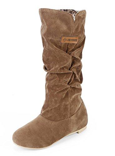 Minetom Damen Herbst Winter Elegant Beiläufig Flache Schuhe Knie Stiefel Slouchy Schneestiefel Süß Lange Stiefel Gelb EU 40 Gelb Toms Schuhe