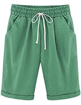 Vosujotis Pantalones Cortos De Mujer De Lino De Algodón Elástico De Wasit Belted Bermudas Pantalones