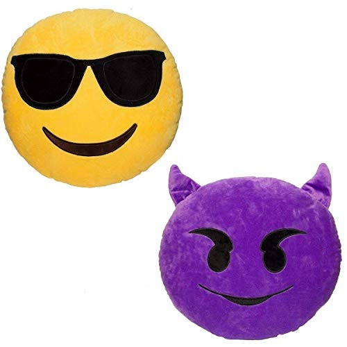 Emoji - Devil Plush + Sunglasses Cool Face Plush - 2 Emoji cushions - 32cm 12""