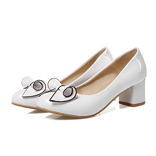 VogueZone009 Femme Tire Rond à Talon Correct Pu Cuir Couleur Unie Chaussures Légeres Blanc