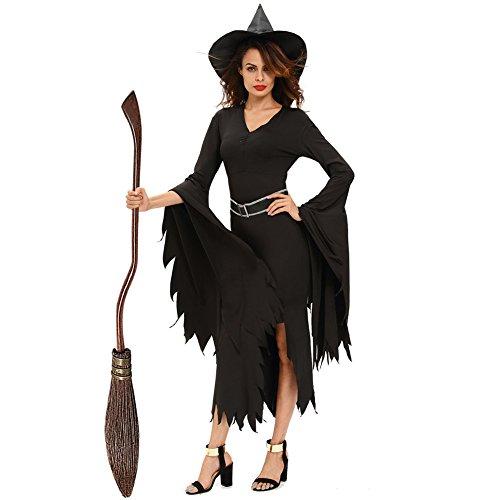 n Schwarz Gothic Frauen Elegantes Hexe Kostüm V Ausschnitt Rock Gabel Horn Unregelmäßiges Ärmel Kleid (Beste Hexen Kostüme)
