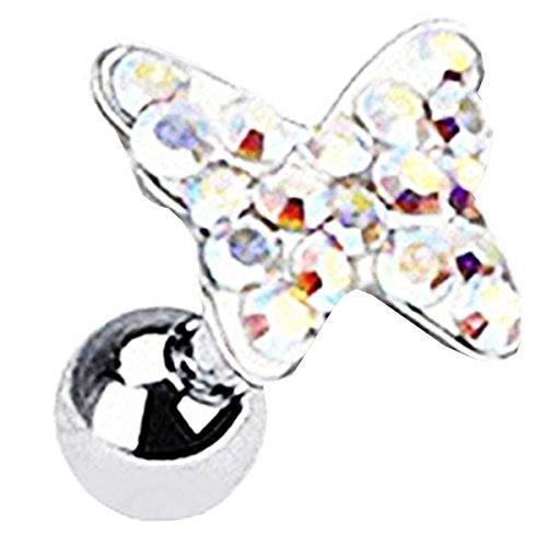 Helix Piercing Recht (Piersando Tragus Helix Ohr Piercing Cartilage Knorpel Stab Stecker 316 L Chirurgenstahl Schmetterling mit Kristall Rainbow)