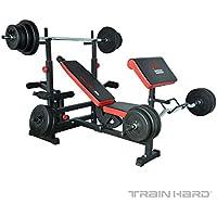 TRAIN - HARDESS Banco de Pesas musculación multifunción. Fuerza piernas Brazos Abdominales. Estación de Entrenamiento Fitness