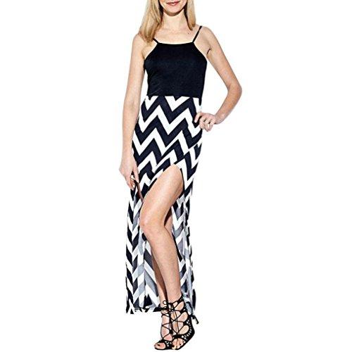 g Maxikleider,SANFASHION Damen Womens Striped Long Boho Kleid Lady Beach Sommer Sommerkleid (Schwarz2, Medium) (Billig Gatsby Kleider)