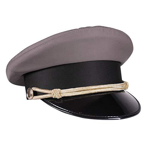 Kleidung zum Feiern Chauffeur-Mütze Grau mit Kordel & Lackschirm Größe 61
