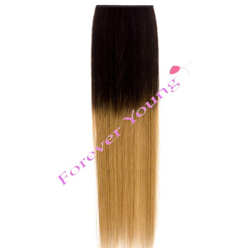 Forever Young 18 Dip Dye Ombre Clip-in Remy Human Hair Extensions Medium Brown to Golden Blonde by Forever Young (Young Extensions Hair Forever)
