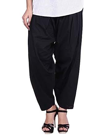 Stylenmart Women's Cotton Semi Patiala Salwar (STMASEPA078619_Black_Free Size)