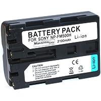 Maxsima - High Power, 2100mAh, NP-FM500H, NP-FM500 Batería compatible para Sony Alpha A77, A57, A65, A200, A300, A350, A450, A500, A550, A560, A700, A850, A900.