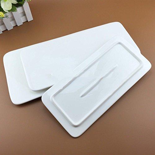 Axiba- Reine Weiße Flache Rechteckige Schale Kreative Sushi Platte Kuchenplatte Keramikstreifenplatten,12Inches (Sushi Wanne)
