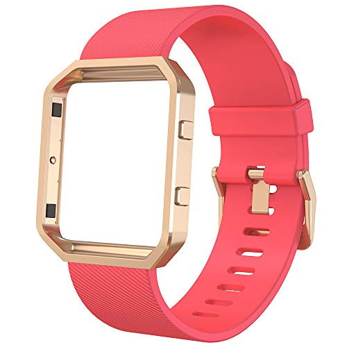 Anjoo Kompatibel für Fitbit Blaze Armband mit Metallrahmen, Verstellbares Ersatz Soft Silikon Uhrenarmband fur Fitbit Blaze Smartwatch (Watermelon Red Band+Rose Gold Frame, Large: 6.7-8.1 Zoll) (7 Zoll Gold-armband)