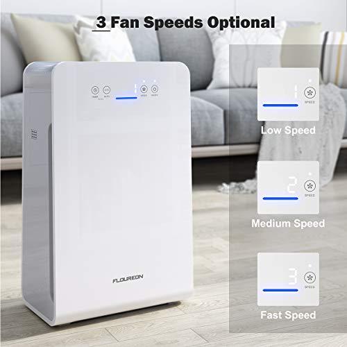 Luftreiniger Air Purifier mit HEPA-Filter 3-Stufen-Filterung Luftqualitätsmonitor Aktivkohlefilter Kombifilter Eliminator Luft Reiniger bis zu 28m², CADR 220 m3/h für Raucherzimmer Allergiker