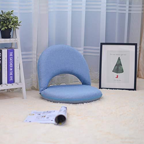 YXNN Klappbodenstuhl - Rückenlehne Multi-Angle Verstellbares Klapp-Meditationsstuhl Geeignet Für Indoor Floor Bay-Fenster Lesen Uhr Spiel Lounge Chair (Farbe : Blau)