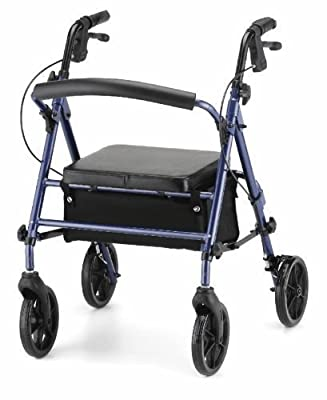 Blue ZT lite Lightweight folding rollator 4 wheel walking frame adjustable height seat and handles