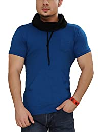 Tees Collection Men's Cotton Half Sleeve Blue Color Hooded T-Shirt