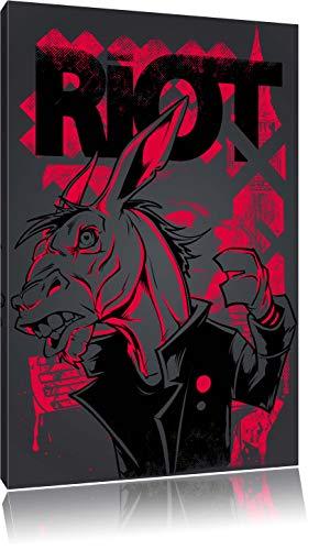 Riot black Bild auf Leinwand, XXL riesige Bilder fertig gerahmt mit Keilrahmen, Kunstdruck auf Wandbild mit Rahmen, gänstiger als Gemälde oder Ölbild, kein Poster oder Plakat (Rote Mäntel Und Rebellen)