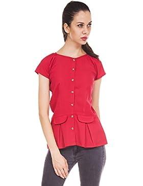 9teenagain Botón Damas de manga corta de Down superior ocasional de la túnica Crepe - Tamaño disponible