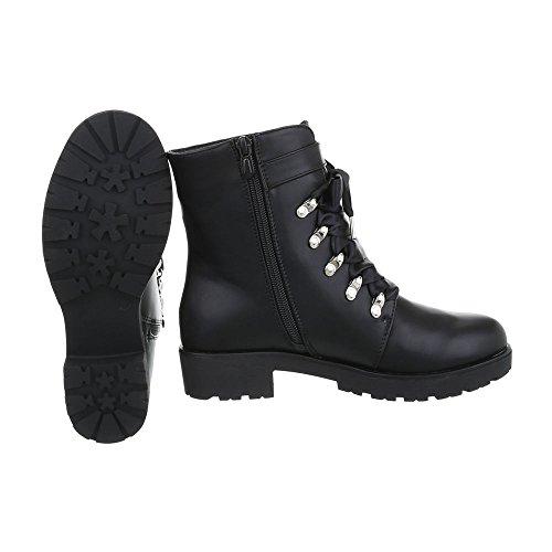 Schnürstiefeletten Damenschuhe Klassischer Stiefel Blockabsatz Schnürer Reißverschluss Ital-Design Stiefeletten Schwarz