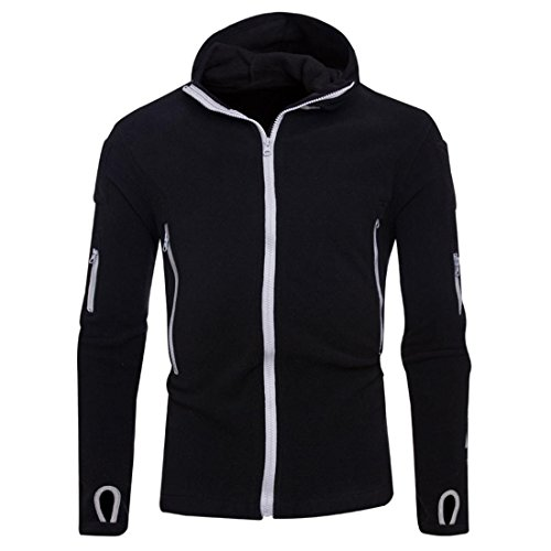 Preisvergleich Produktbild Hoodie Jacke Zipper Herren Btruely Winter Mode Männer Kapuzenpullover Langarm Mit Kapuze Mantel Männer Hooded Sweatshirt Retro Outwear (XL,  Schwarz)