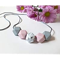 Teething Necklace Breastfeeding Nursing for Mum to Wear Baby BPA FREE Silicone Beads Pink Grey