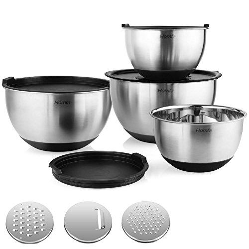 Schwarz Schneiden, Schüssel (Homfa Edelstahlschüssel 4 Stück Küchenschüssel aus Edelstahl Salatschüssel mit 3 Gemüsereiben Rührschüsseln mit Deckel stapelbar Rutschfester Schüssel 4er Set von 1L, 2L, 3L, 4.5L)