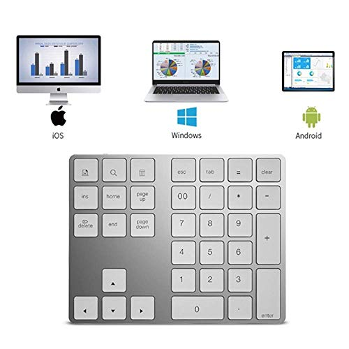 luetooth-Tastatur, tragbare numerische Aluminiumtastatur mit Keil für Apple Android/Laptop/Desktop/Smartphone/Tablet - Weiß, Schwarz ()