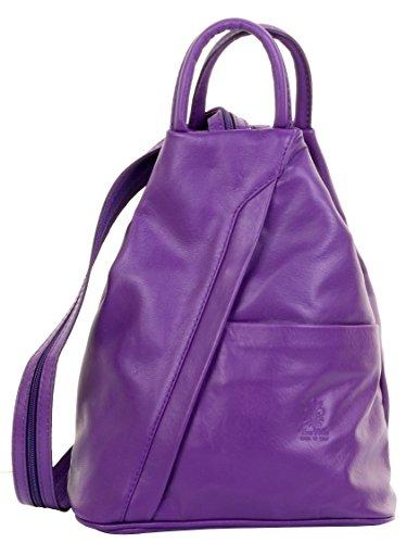 Lila Nappa-leder (Primo Sacchi ® Italienisch Weiche Napa Leder lila Top Griff Umhängetasche Rucksack Backpack. Inklusive Markenschutz-Aufbewahrungstasche)