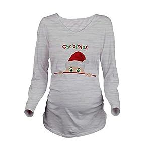 QKIM-Camiseta-Divertido-Estampada-de-Manga-Larga-Premam-para-Mujer-Embarazo-Lactancia-T-Shirt-ChristmasGris-XXL