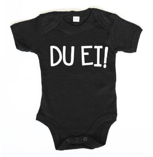 ::: DU EI! ::: Baby Body, Schwarz mit weißem Aufdruck, Größe 12-18 (Oster Bunny Kostüm Baby)