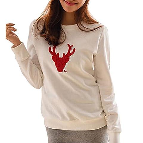 Vertvie 1 Pièce Ensemble Vêtement de Famille Père Mère Enfant Sweat-shirt Tops Imprimé Cerf Noël Automne Hiver (M, Mère Blanc)