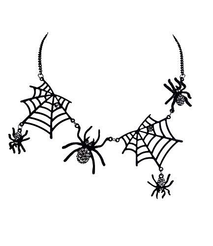 SIX Halskette: Creepy Statementkette,Schwarze Spinnennetze, Spinnen, mit Strass verziert, perfekt für Halloween/Fasching/Karneval, schwarz (758-713)