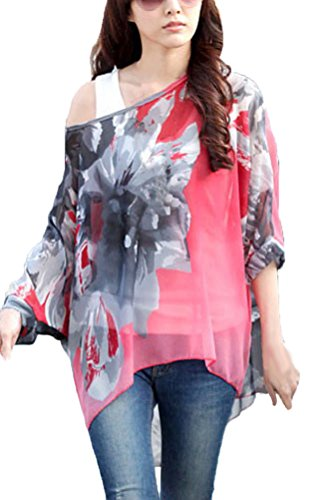 iKneu Damen Boehmen Batwing Shirt Chiffon Tunika Damebluse T-Shirt Pattern 09