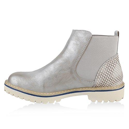 Stiefelparadies Modische Damen Stiefeletten Chelsea Boots Prints Schuhe Bequem Übergrößen Gr. 36-42 Zipper Wildleder-Optik Flandell Silber Metallic