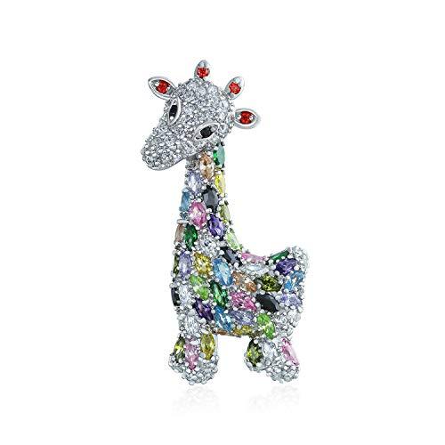 Giraffe Womens Kostüm - Bling Jewelry Giraffe Zoo Tier Broschen & Anstecknadeln Für Damen CZ Bunte Pave Zirkonia Silber Rhodiniert Ton
