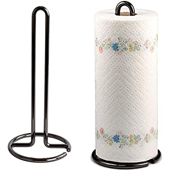 Kundi Wrought Iron Kitchen Tissue Paper roll Holder (Black)