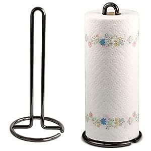 Kundi Wrought Iron Kitchen Tissue Paper roll Holder (Black)