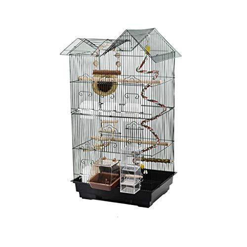 Hjd-Pet Nest Metall Luxus Vogelkäfig Papagei Vogelkäfig Zucht Vogelkäfig Große Modell Square Schwarz Mit Vogelnest Schaukel Feeder