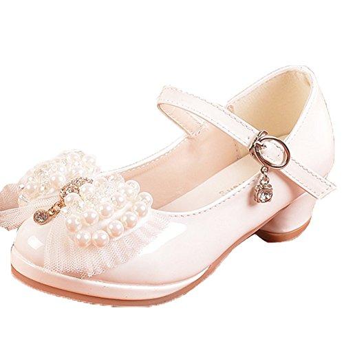 Ohmais Enfants Filles Chaussure cérémonie Ballerines à bride Fête Demoiselle d'honneur Mariage Escarpin à petit talon Beige